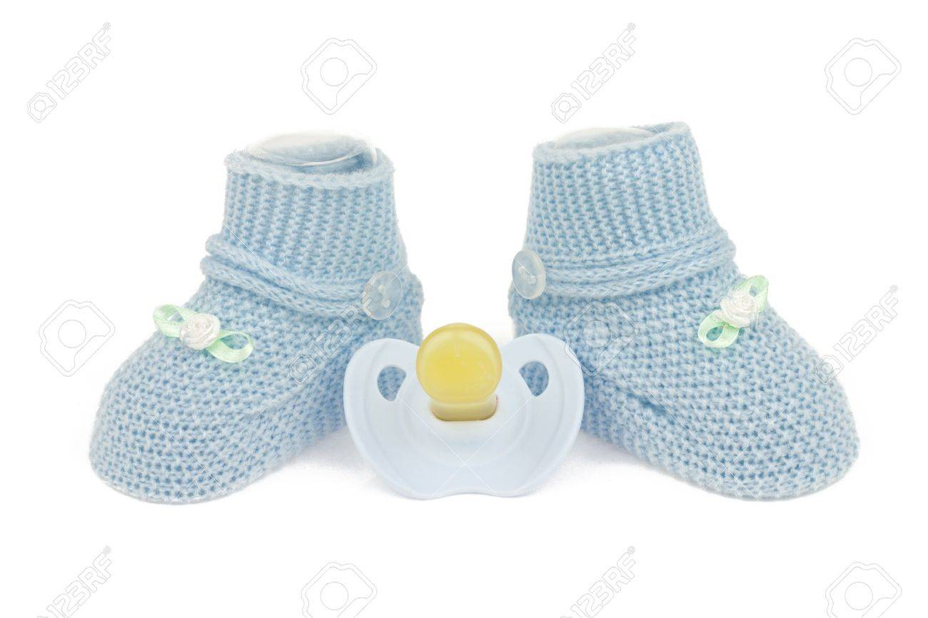Blue Baby Boy Shoes With Dummy Isolated