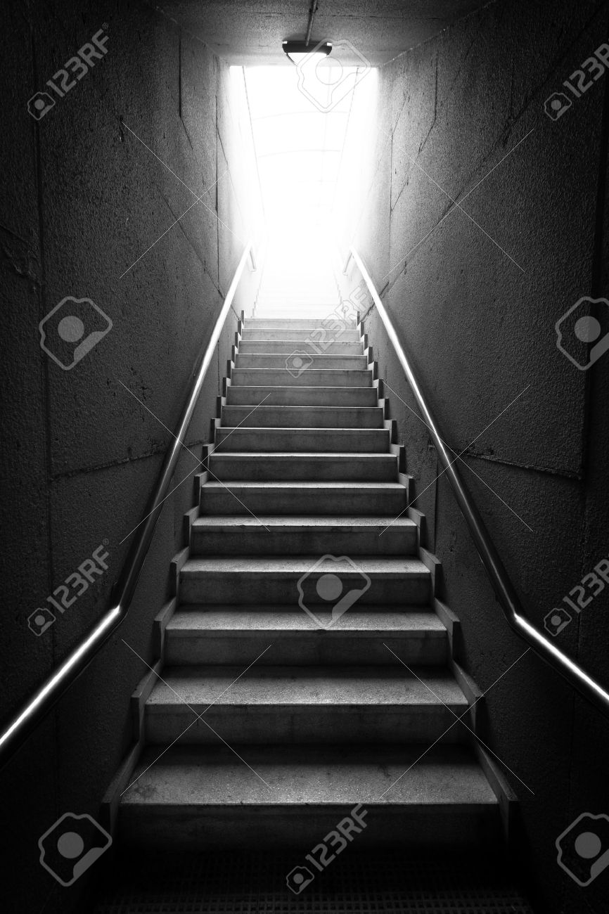Black And White Image Of A Dark Hallway Staircase Stock Photo   13484866
