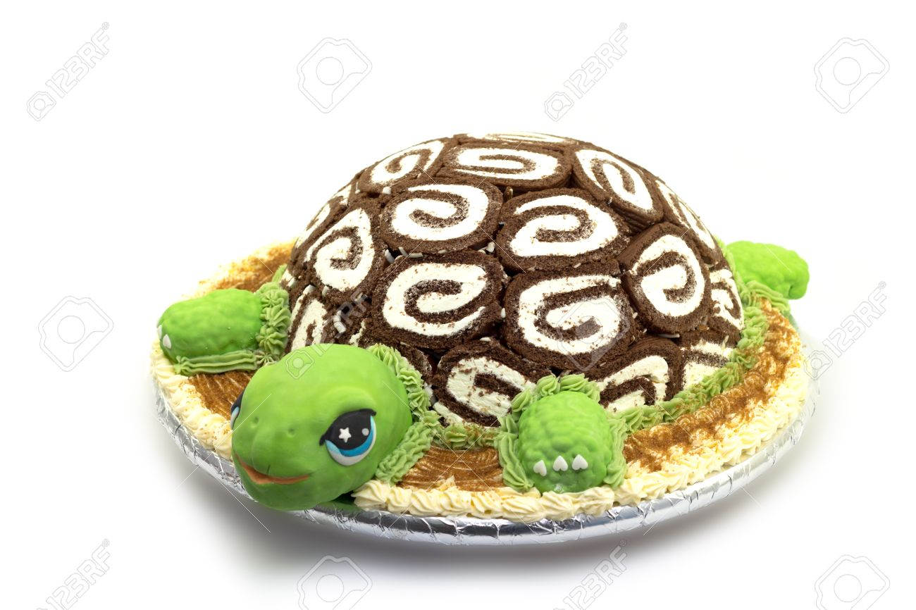 Turtle Shaped Cake On White Background Stock Photo Picture And