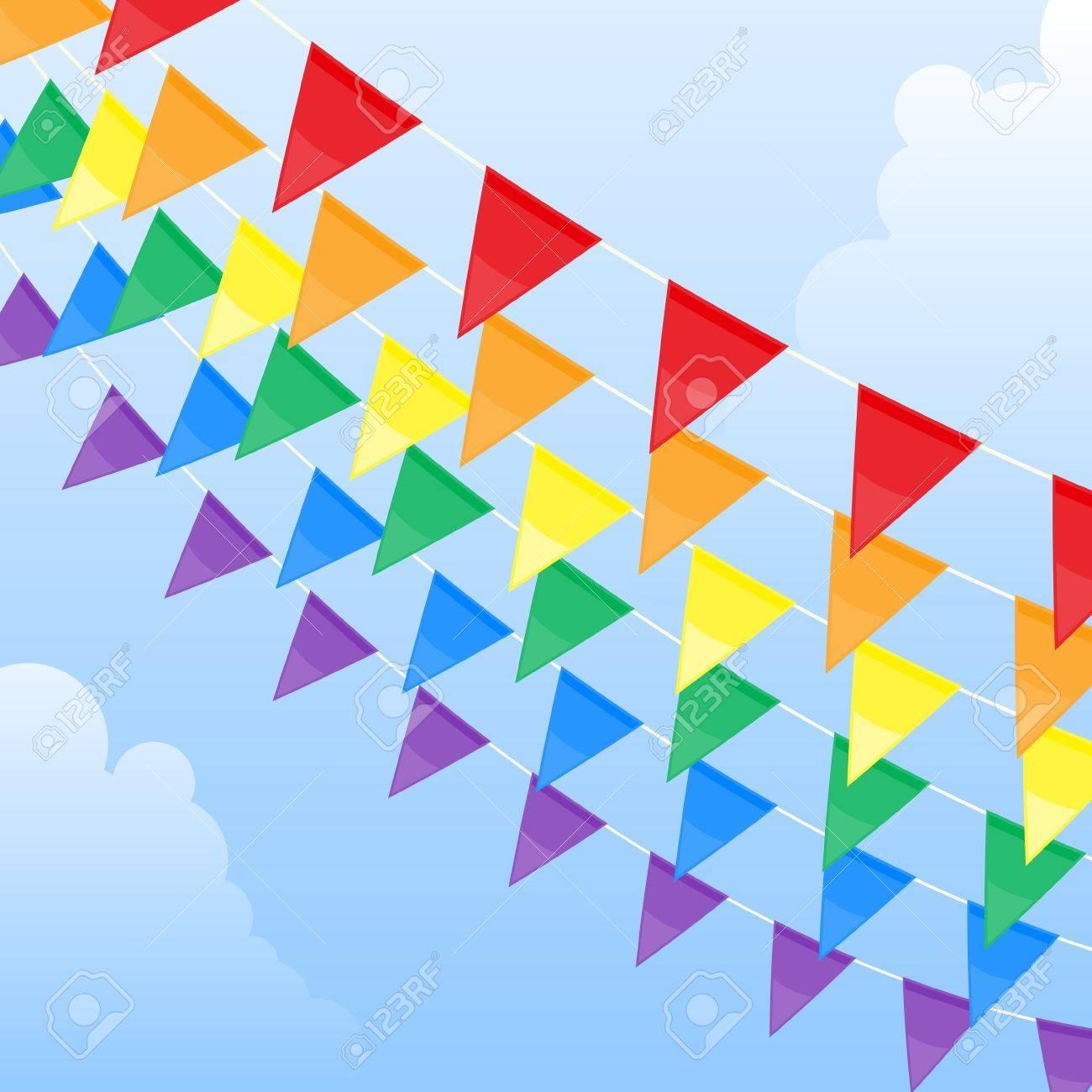Rainbow pennants Stock Vector - 4876200