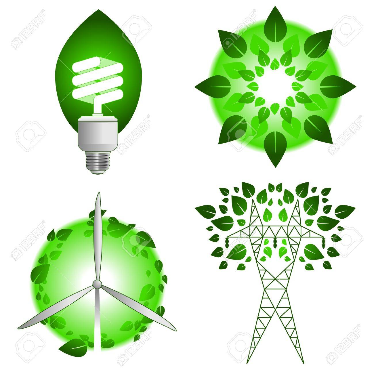Green energy icons Stock Vector - 4982263