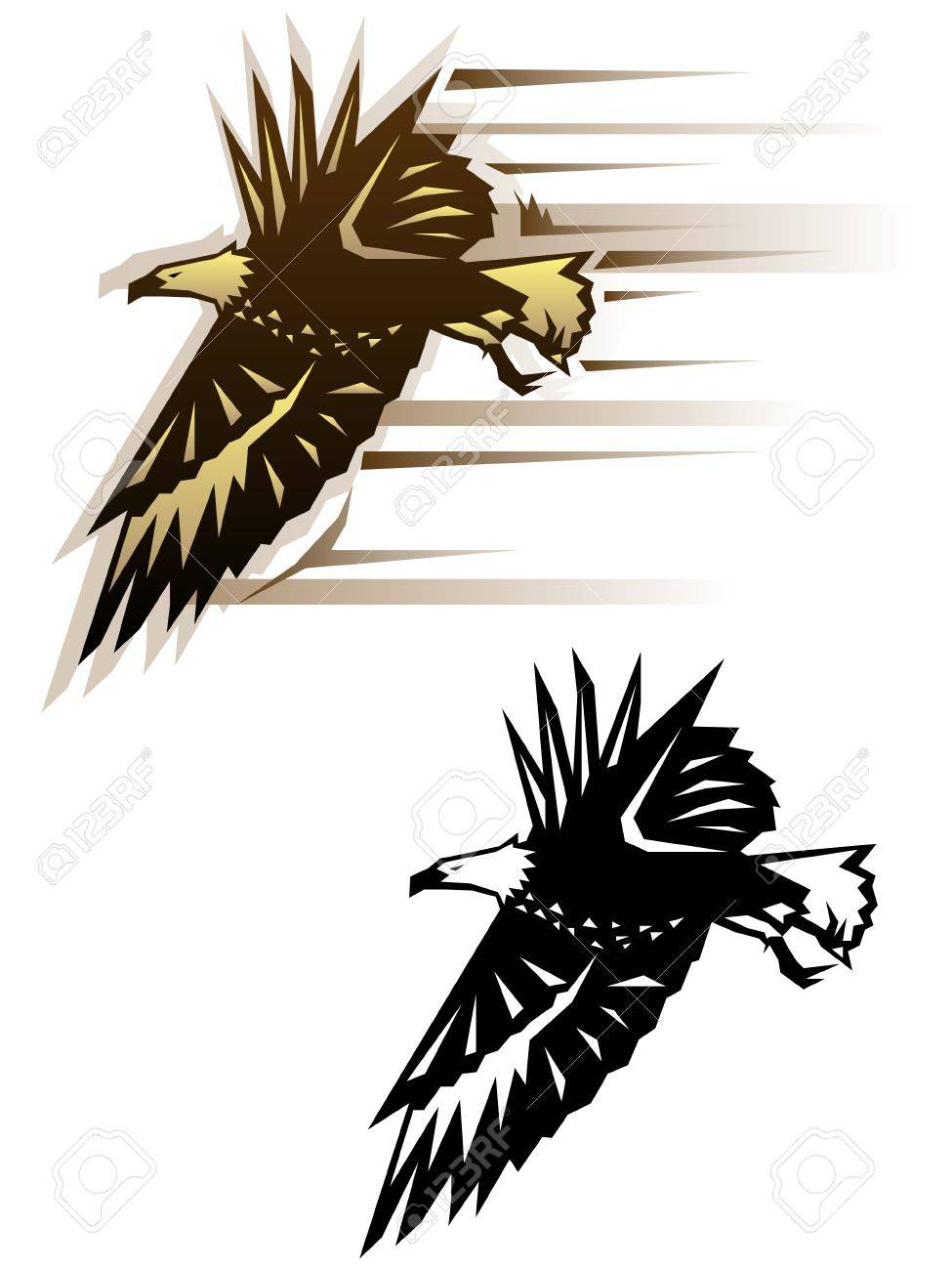 graphic eagle illustration in two color schemes royalty free