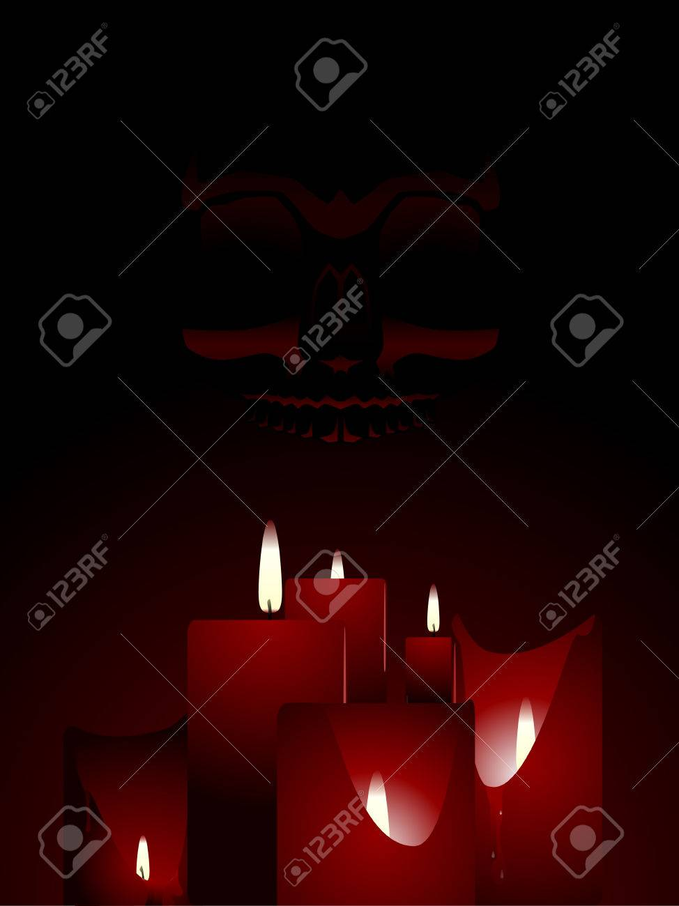 Candlelit skull background Stock Vector - 5319347