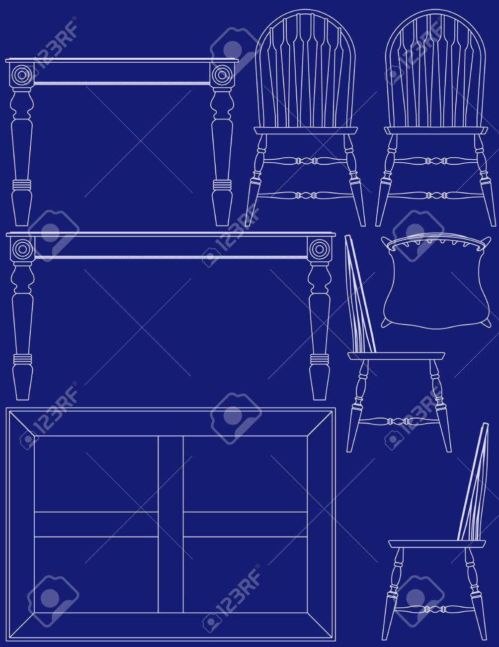 Blueprint Dining Room Furniture Royalty Free Cliparts Vectors