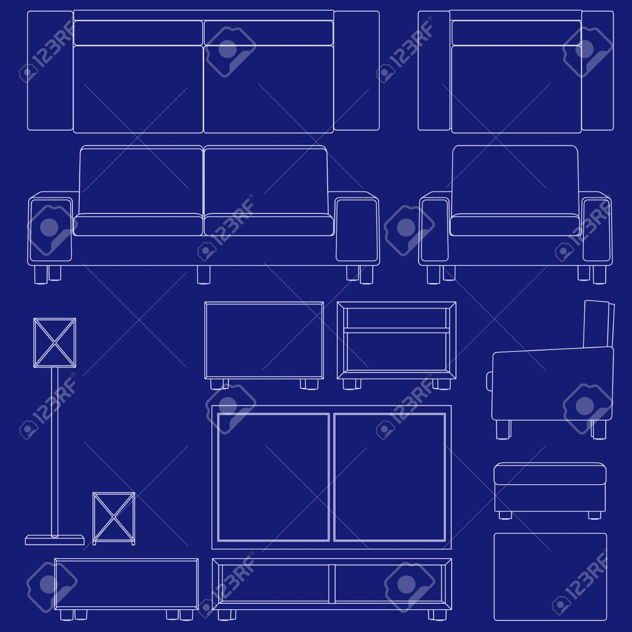 Blueprint Living Room Furniture Royalty Free Cliparts Vectors