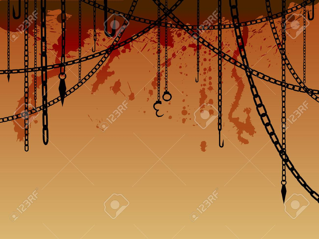 Chains and hooks background Stock Vector - 6344178
