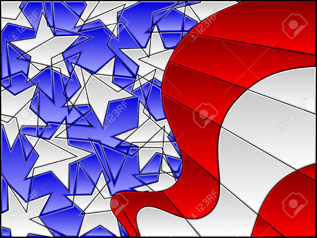 Stained Glass American Flag.Stained Glass American Flag