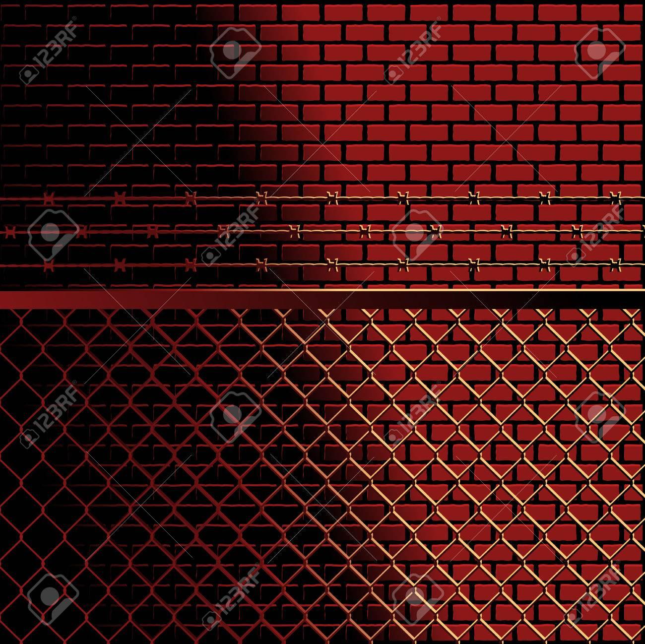 Bricks and fence background - 6981910
