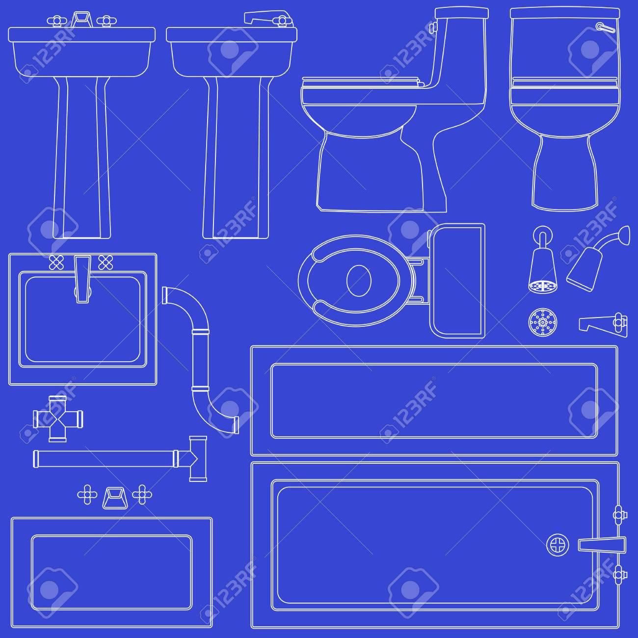 Accesorios de bao de blueprint ilustraciones vectoriales clip art accesorios de bao de blueprint foto de archivo 7232320 malvernweather Image collections