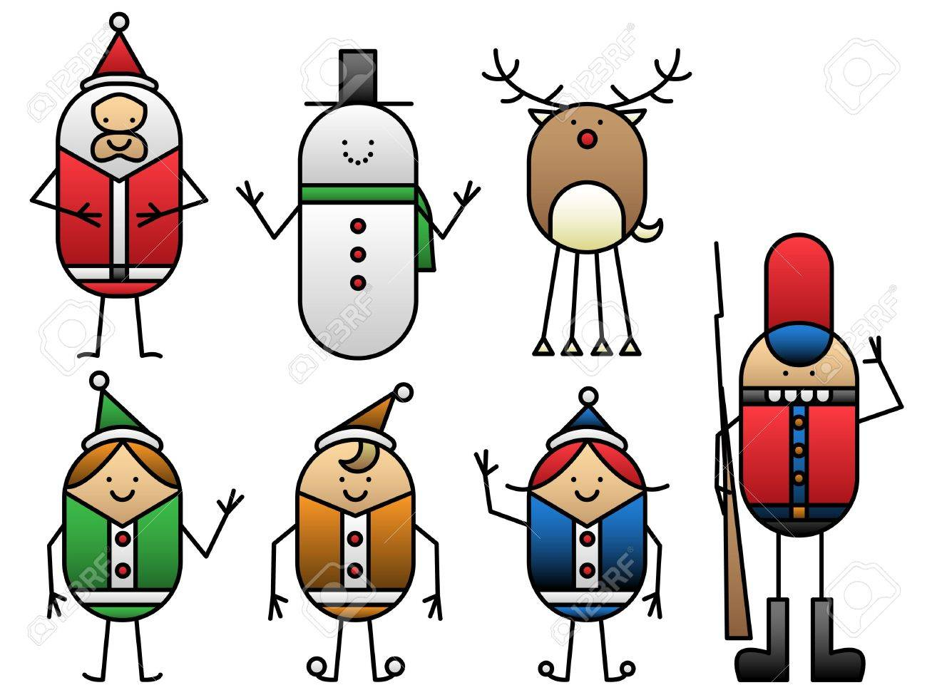 seven christmas cartoons royalty free cliparts vectors and stock