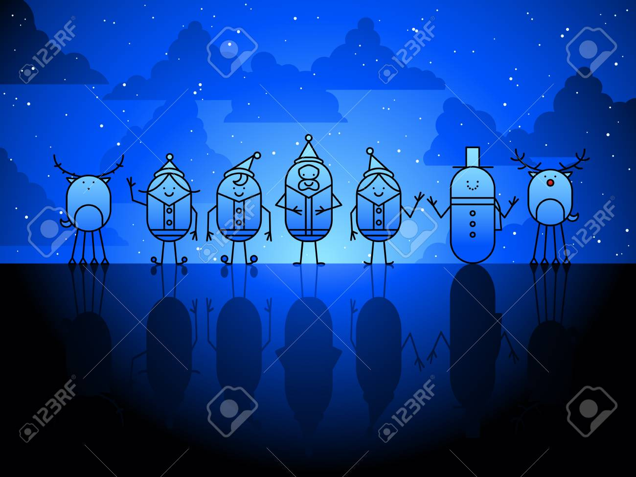 Christmas characters background Stock Vector - 7651696