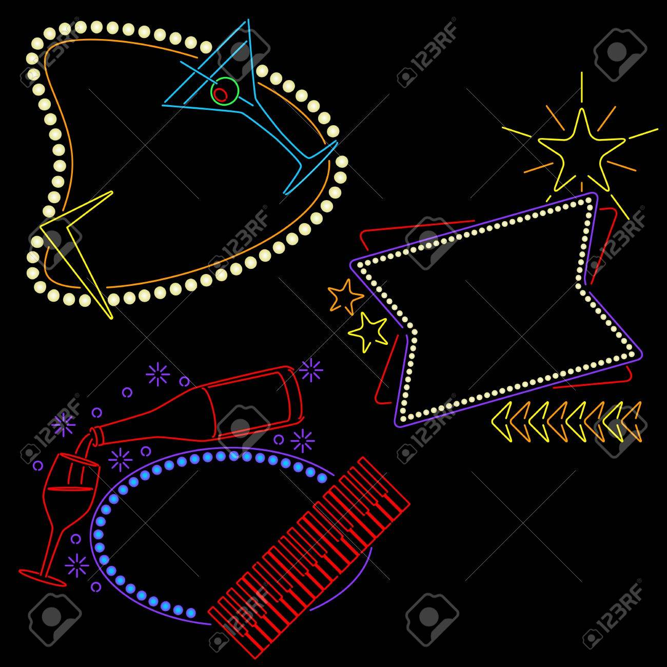 Neon lounge signs ready for your text Stock Vector - 8011605