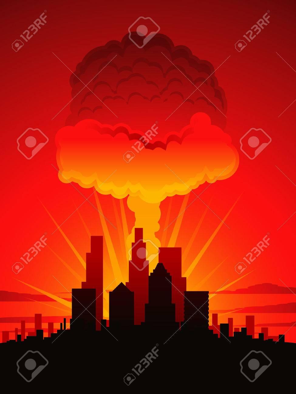 Mushroom cloud and city Stock Vector - 9035460