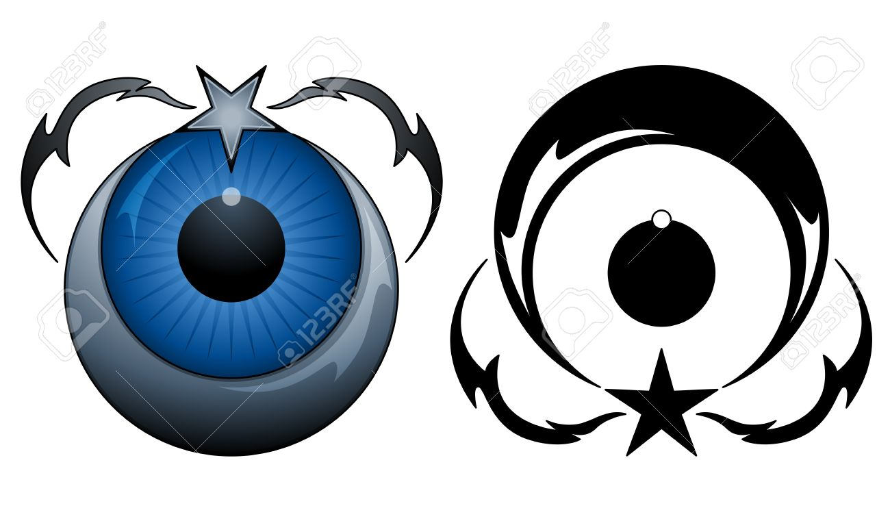 Star and moon tattoo Stock Vector - 9345177