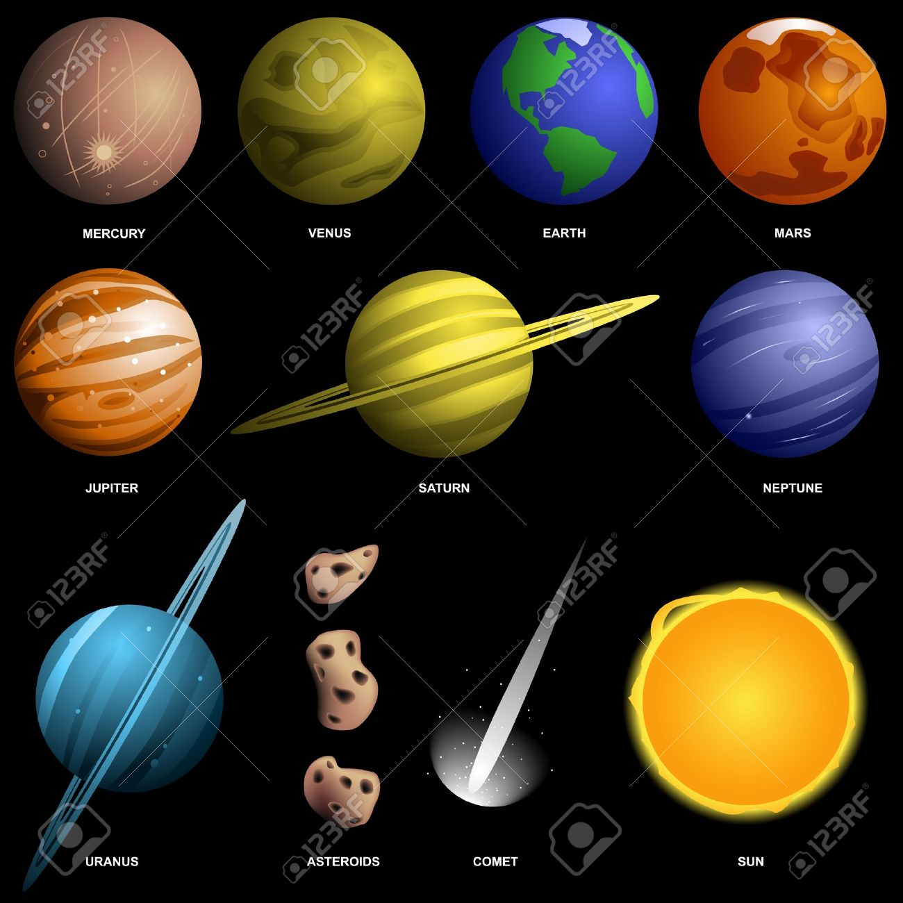 solar system planets colors