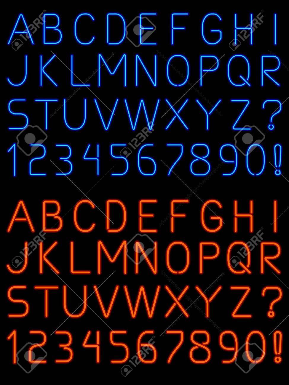 Neon alphabet font Stock Vector - 14650602