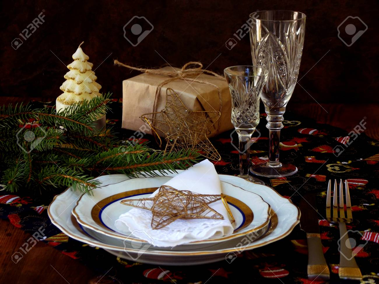 holiday rustic Christmas and New Year table setting with xmas