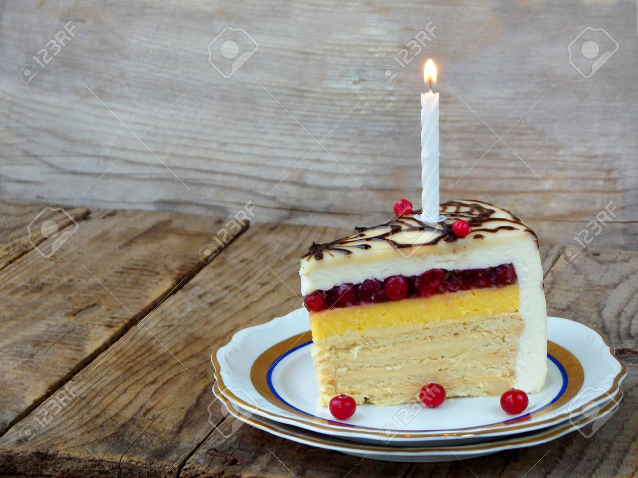 Piece Of Cake Napoleon With Lighted Candles Birthday Side
