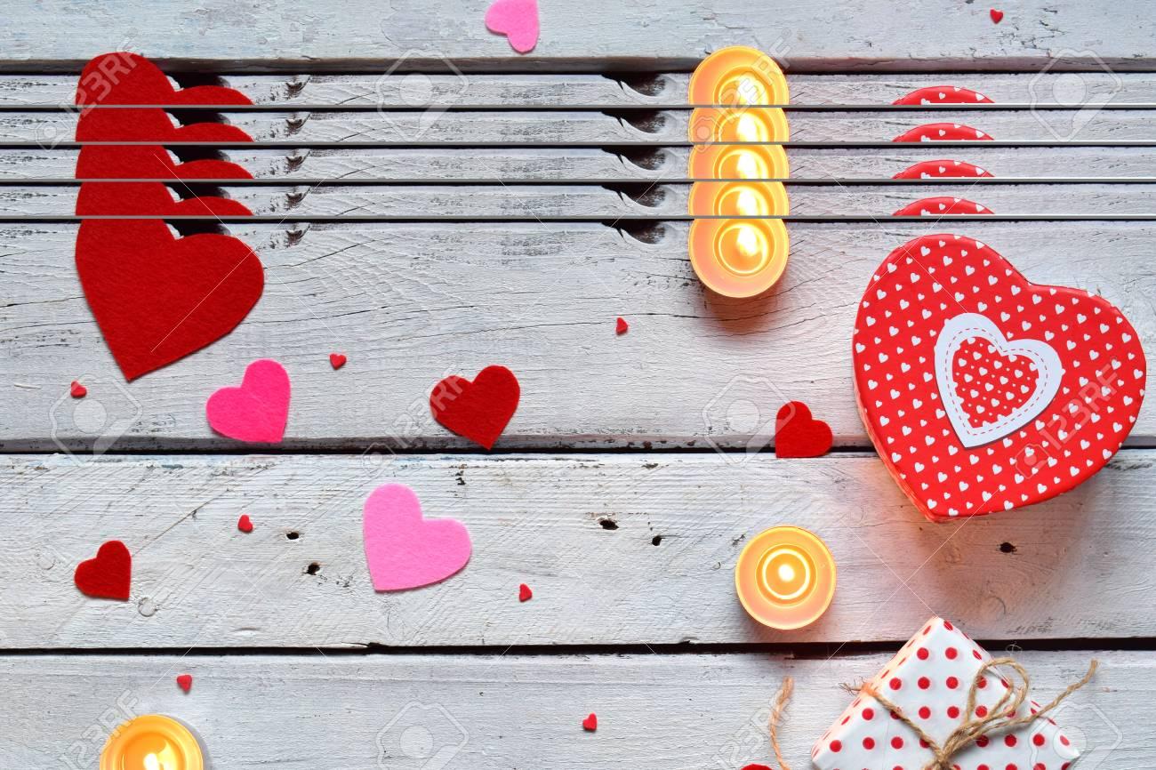 Valentines Day Background With Handmade Felt Hearts Valentine