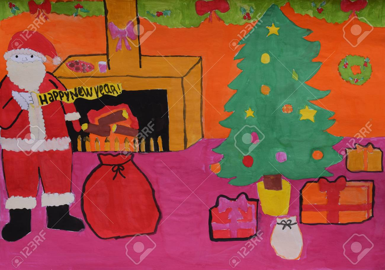 children s drawing santa claus bag of gifts fir tree merry