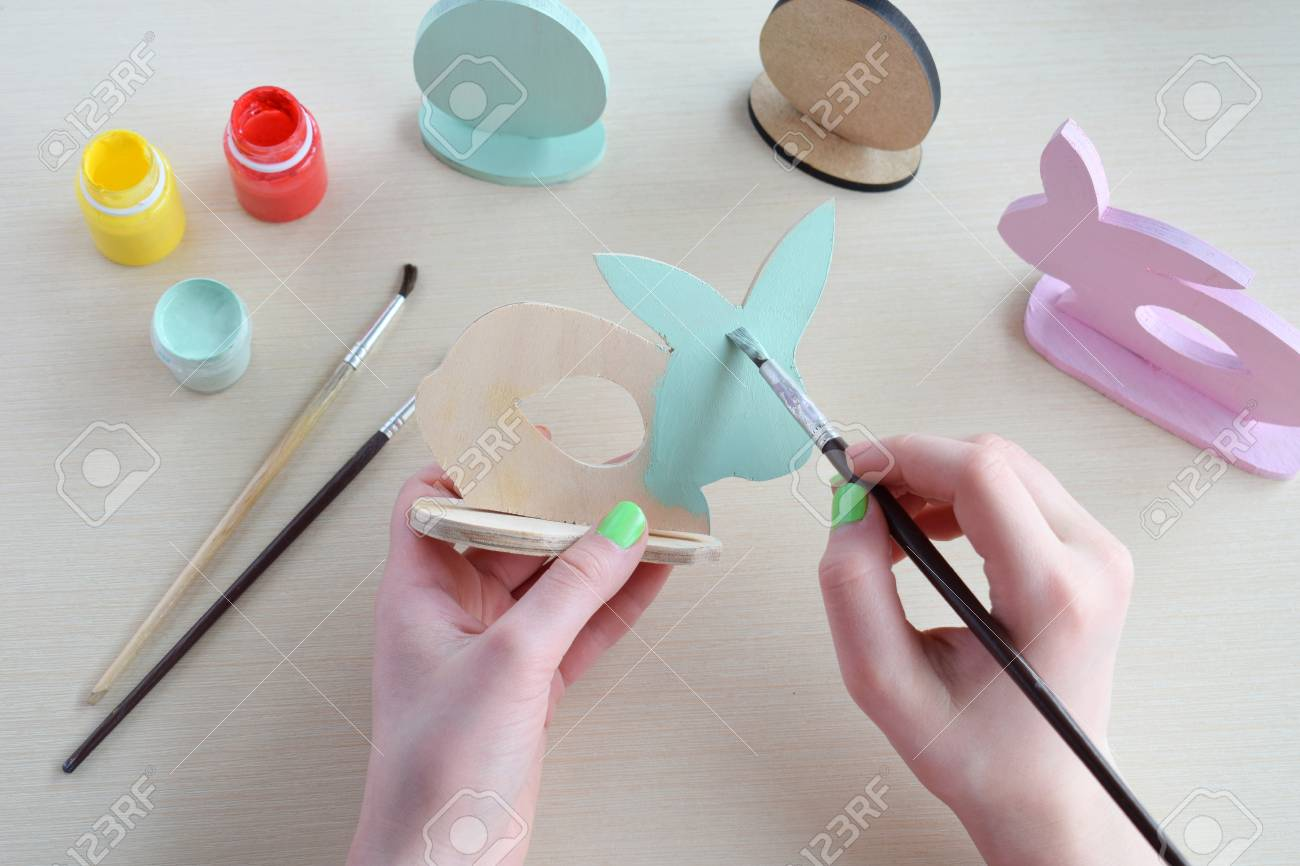Making Easter Decoration Easter Eggs And Bunny Painting And