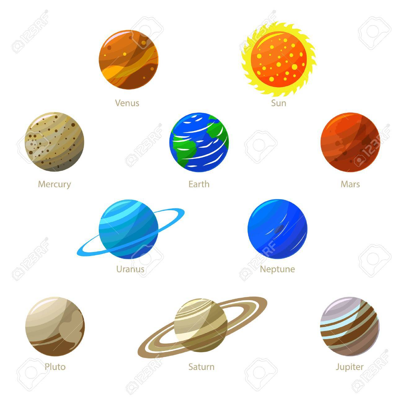 Colorful Solar System Planets and Sun. Flat Design Style. - 61330863