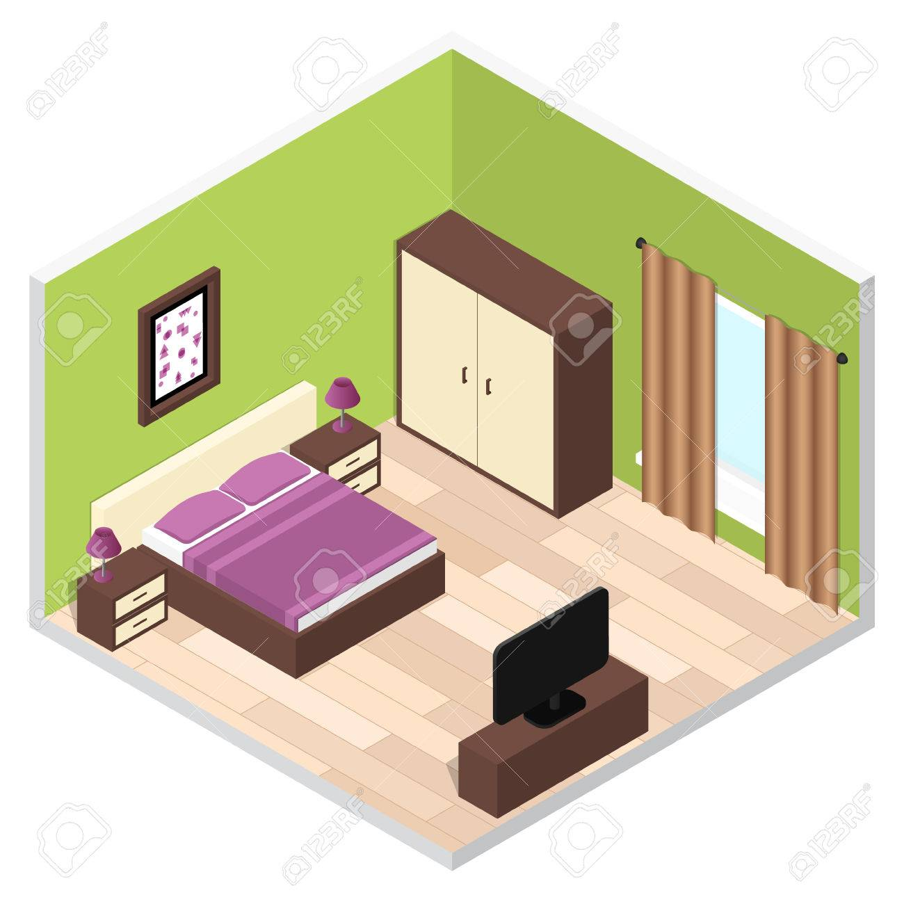 bedroom isometric interior with furniture vector illustration