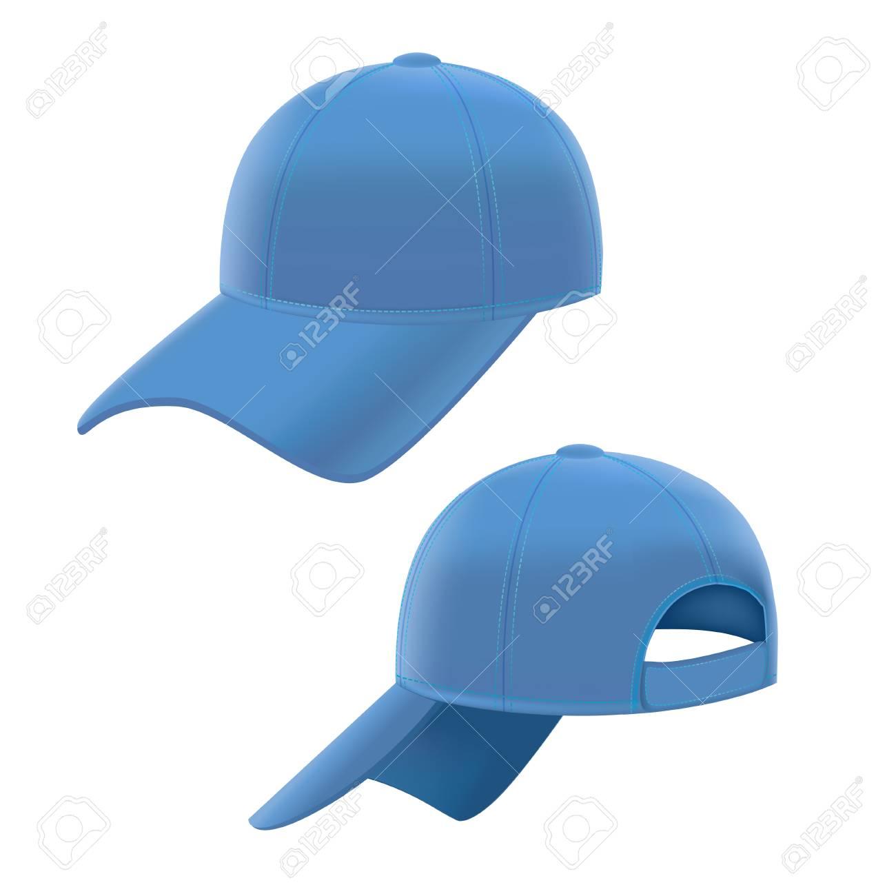 Foto de archivo - Realista gorra de béisbol azul en el fondo blanco.  Ilustración vectorial 870f5459cc6