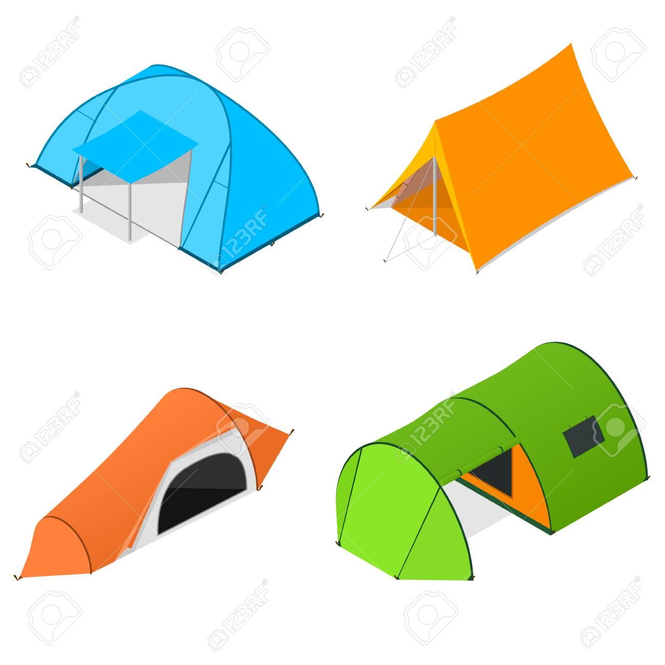Color C&ing Tent Set. Tourist C&. Vector illustration Stock Vector - 64154772  sc 1 st  123RF Stock Photos & Color Camping Tent Set. Tourist Camp. Vector Illustration Royalty ...