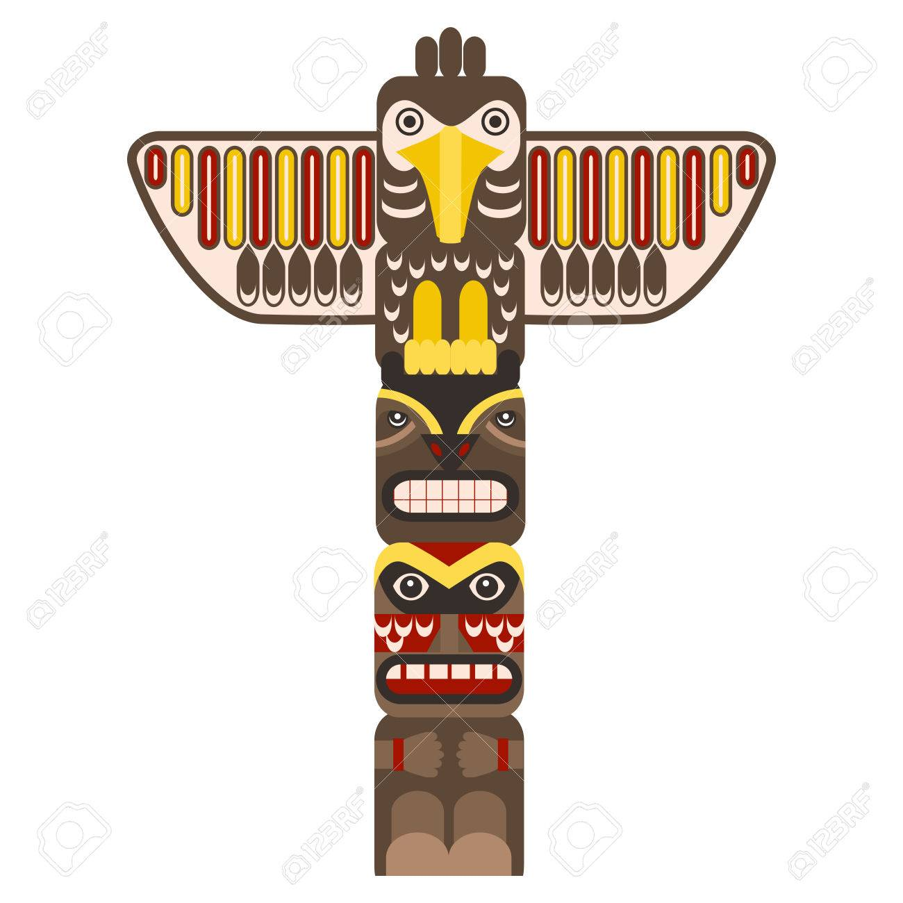 traditional religious totem pole with animal flat design style rh 123rf com totem pole face clipart hawaiian totem pole clipart