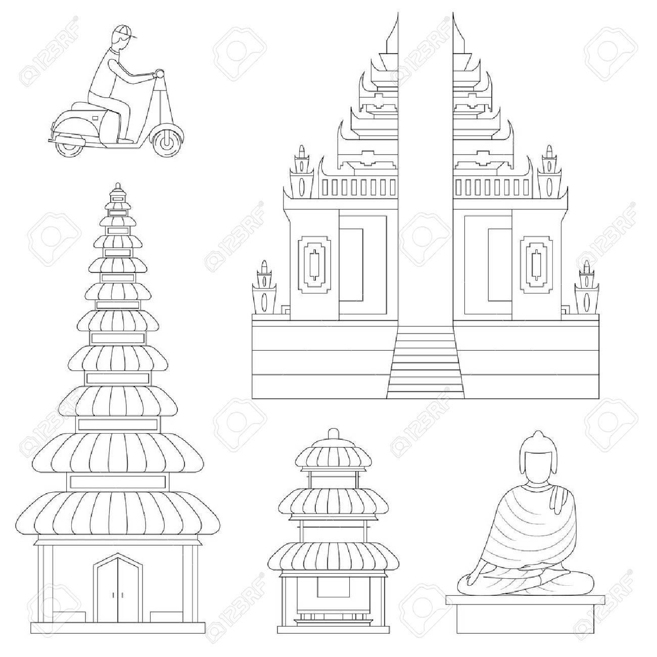 Bali Thin Line Art Building Pixel Perfect Art. Material Design. Vector illustration - 64155378