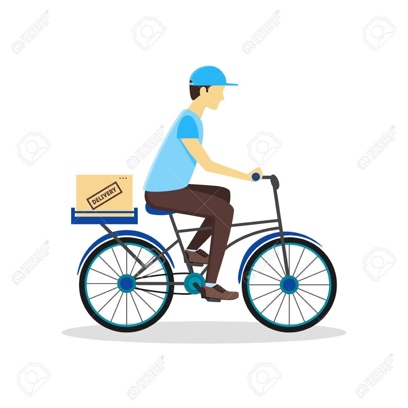 Hombre De Salida De La Bicicleta Con La Caja De Cartón. Servicio De ...