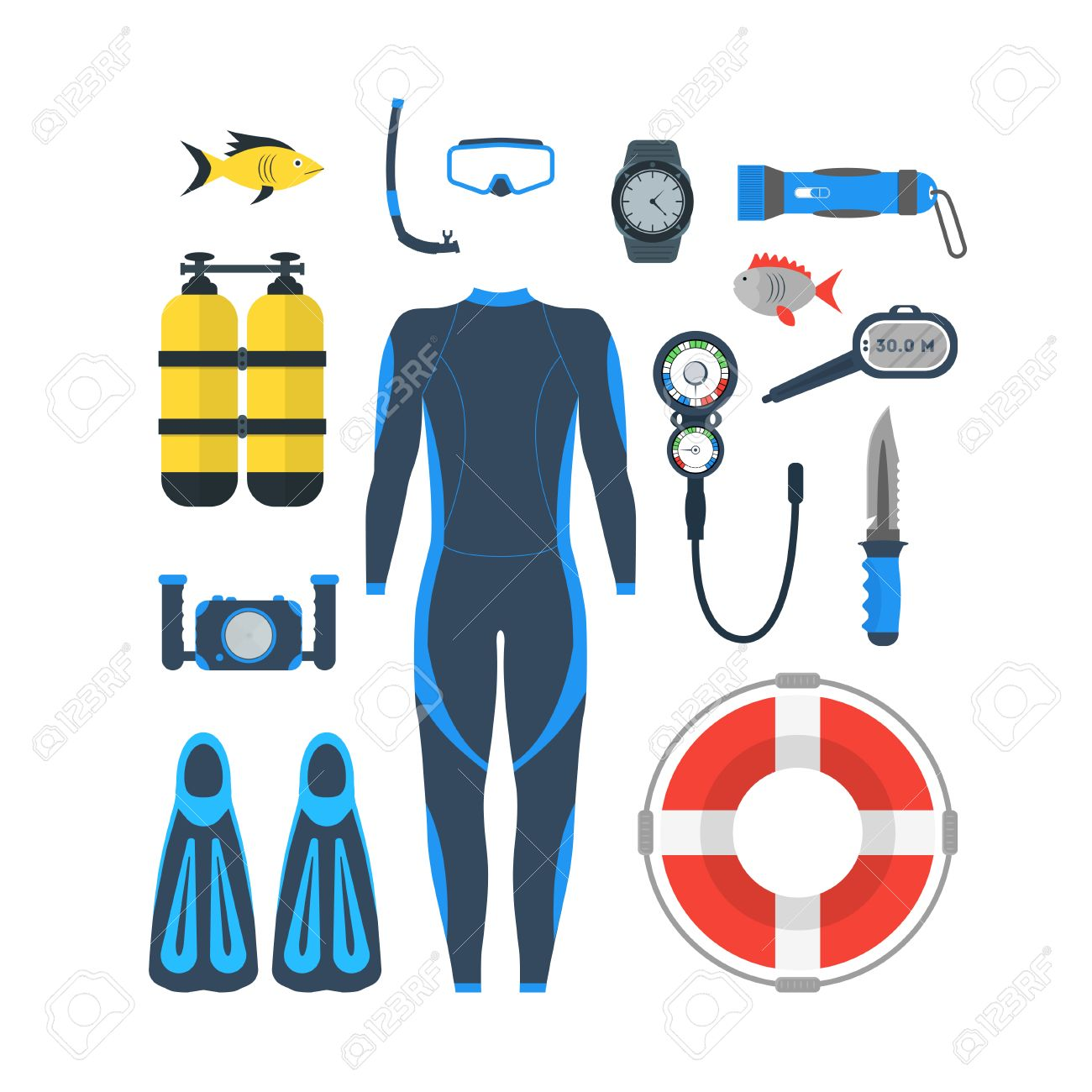 Diving Equipment Set. Mask and Snorkel or Scuba, Flippers and Suit for Swimming. Flat Design Style. Vector illustration - 64155389