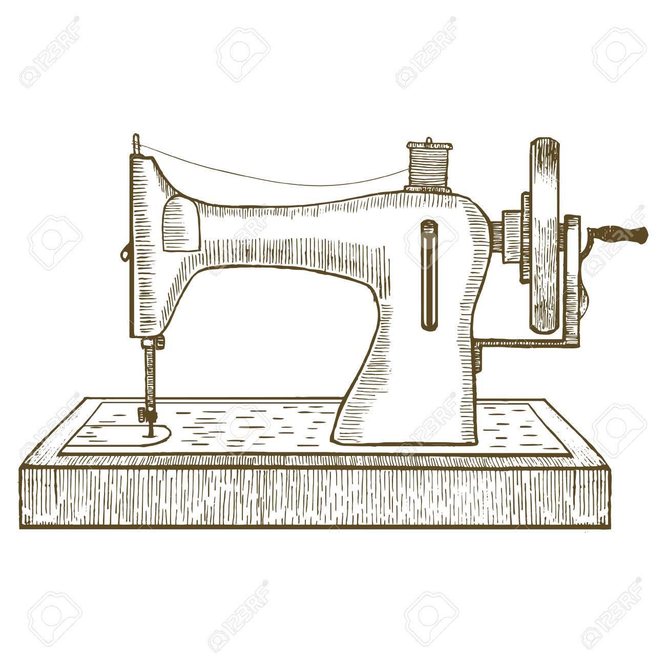 Extrêmement Machine à Coudre à La Main Dessiner Sketch Pour Votre Conception  YT44