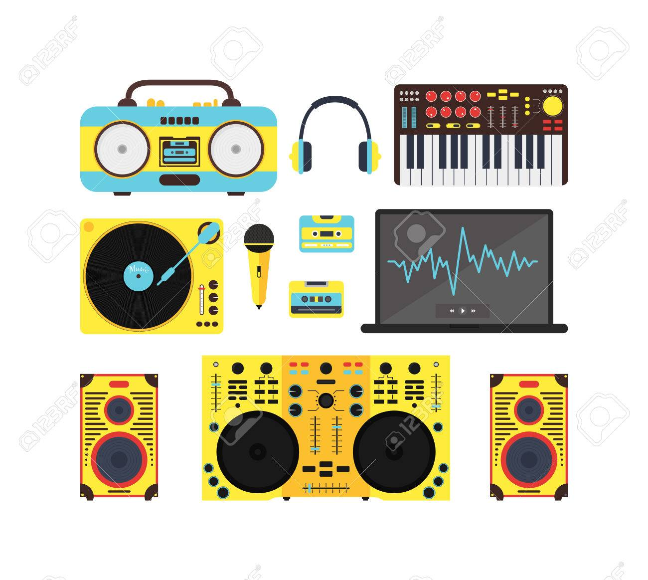 sound system clipart. dj audio music equipment set. sound system for party, night club. flat design clipart t