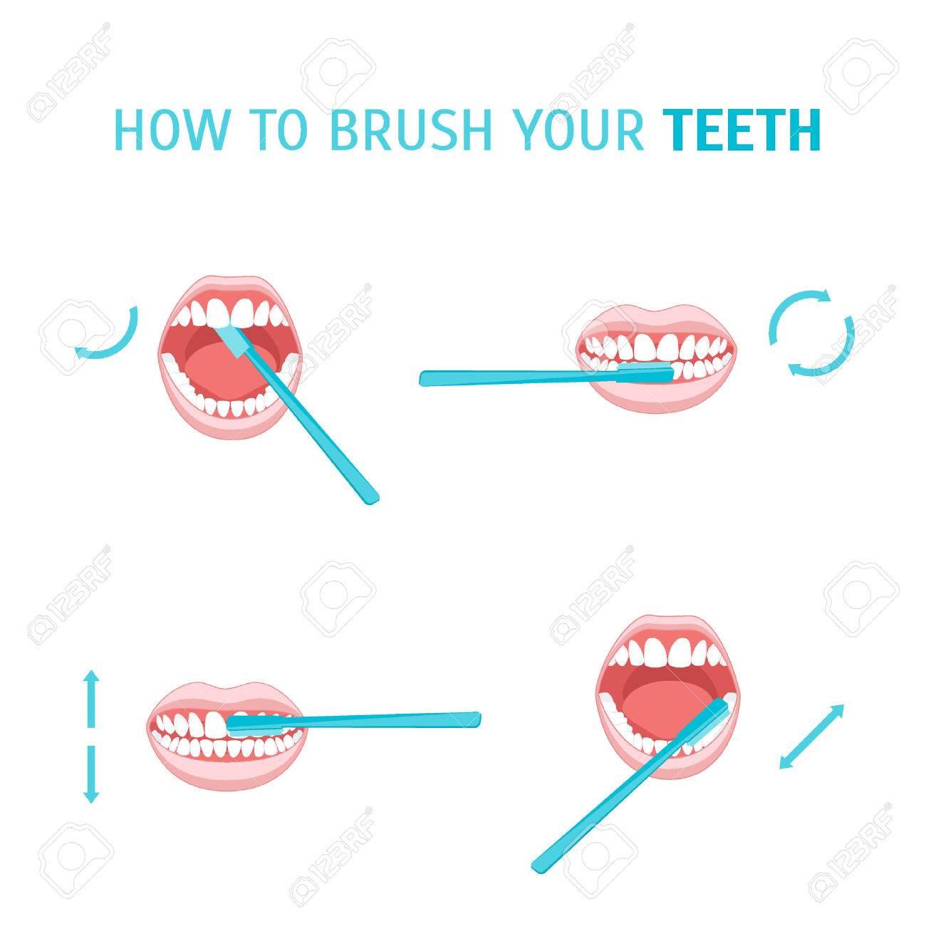 How To Brush Your Teeth. Brushing Tooth. Poster with the Instruction Manual. Order Correct Movements. Vector illustration - 64155665