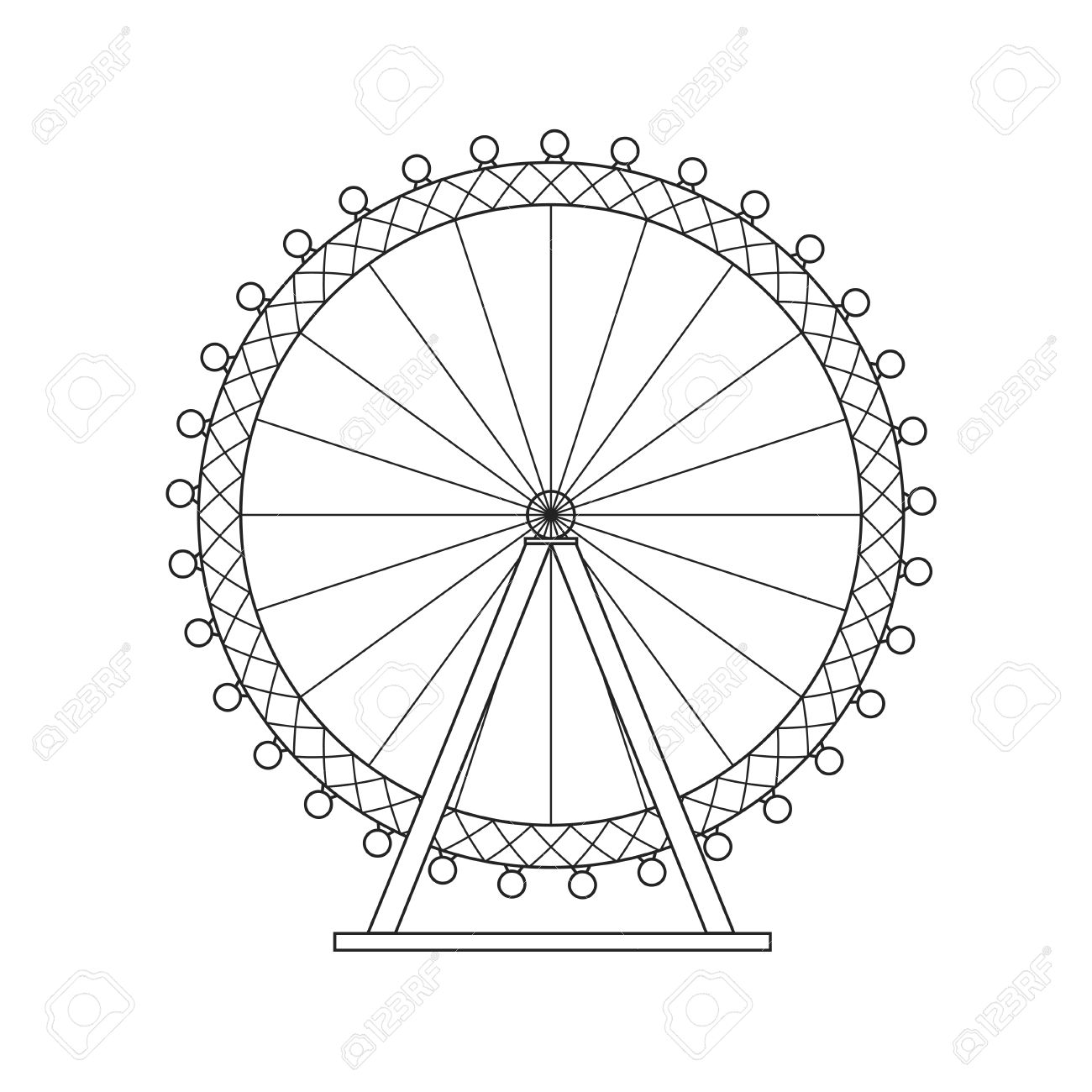 Ferris Wheel London Thin Line Pixel Perfect Art Material Design Royalty Free Cliparts Vectors And Stock Illustration Image 64155674