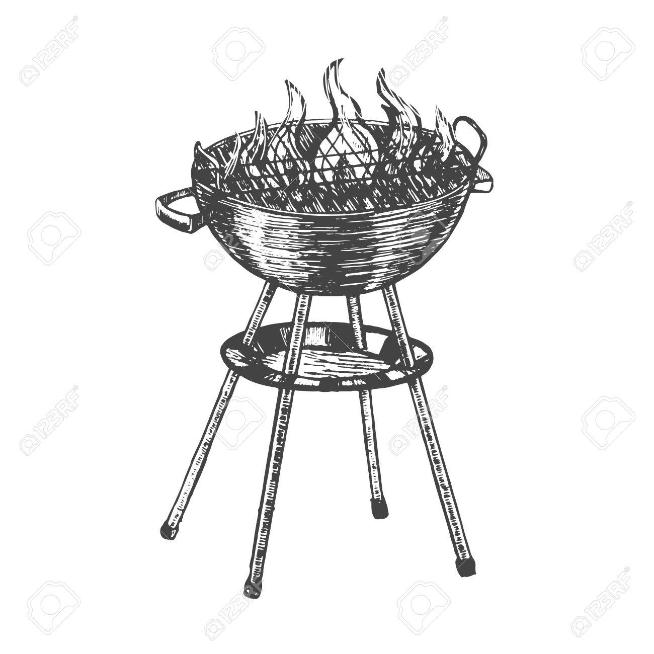 Dessin Barbecue dessin à la main au barbecue. grill au charbon de bois. cuisine d