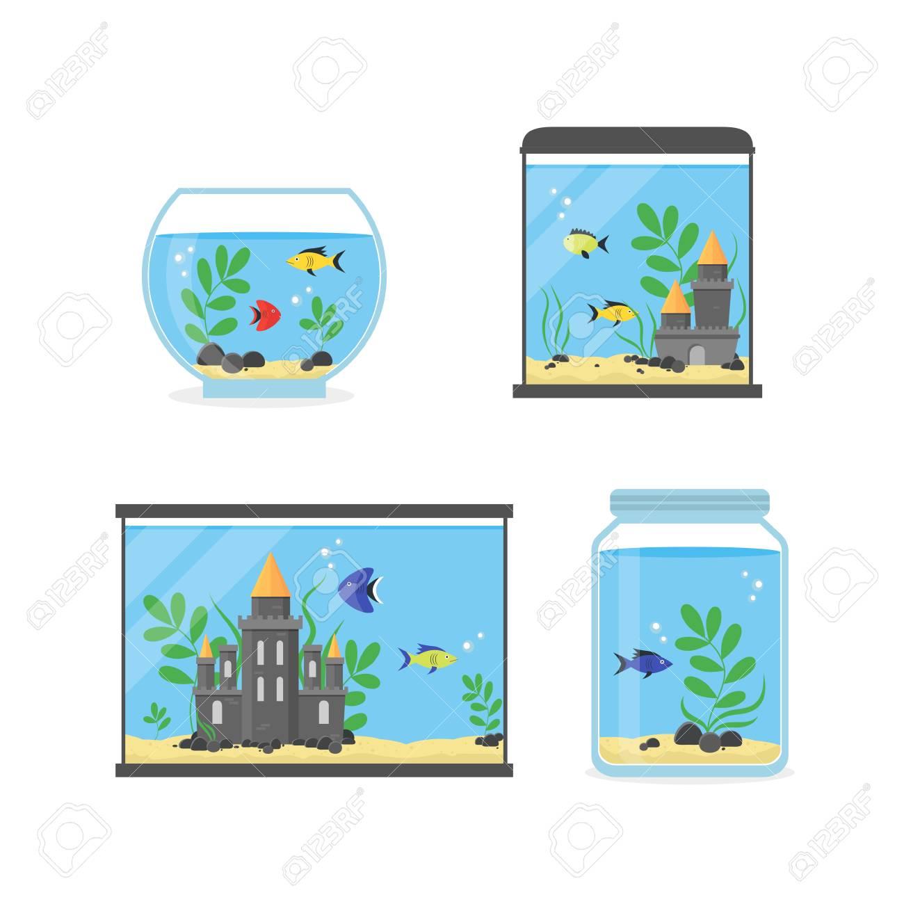 Glass Aquarium Set For Interior Home. Equipment Hobby Flat Design ...