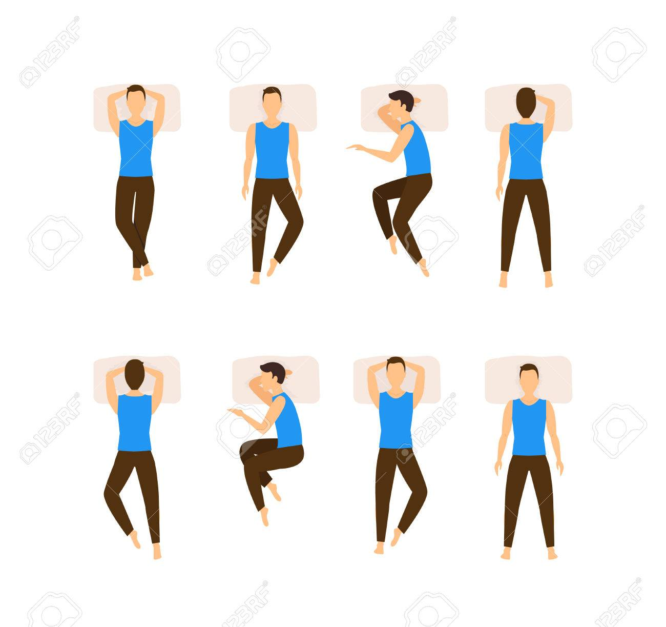 Different Sleeping Poses Set. Top View Man. Flat Design Style. - 64571874