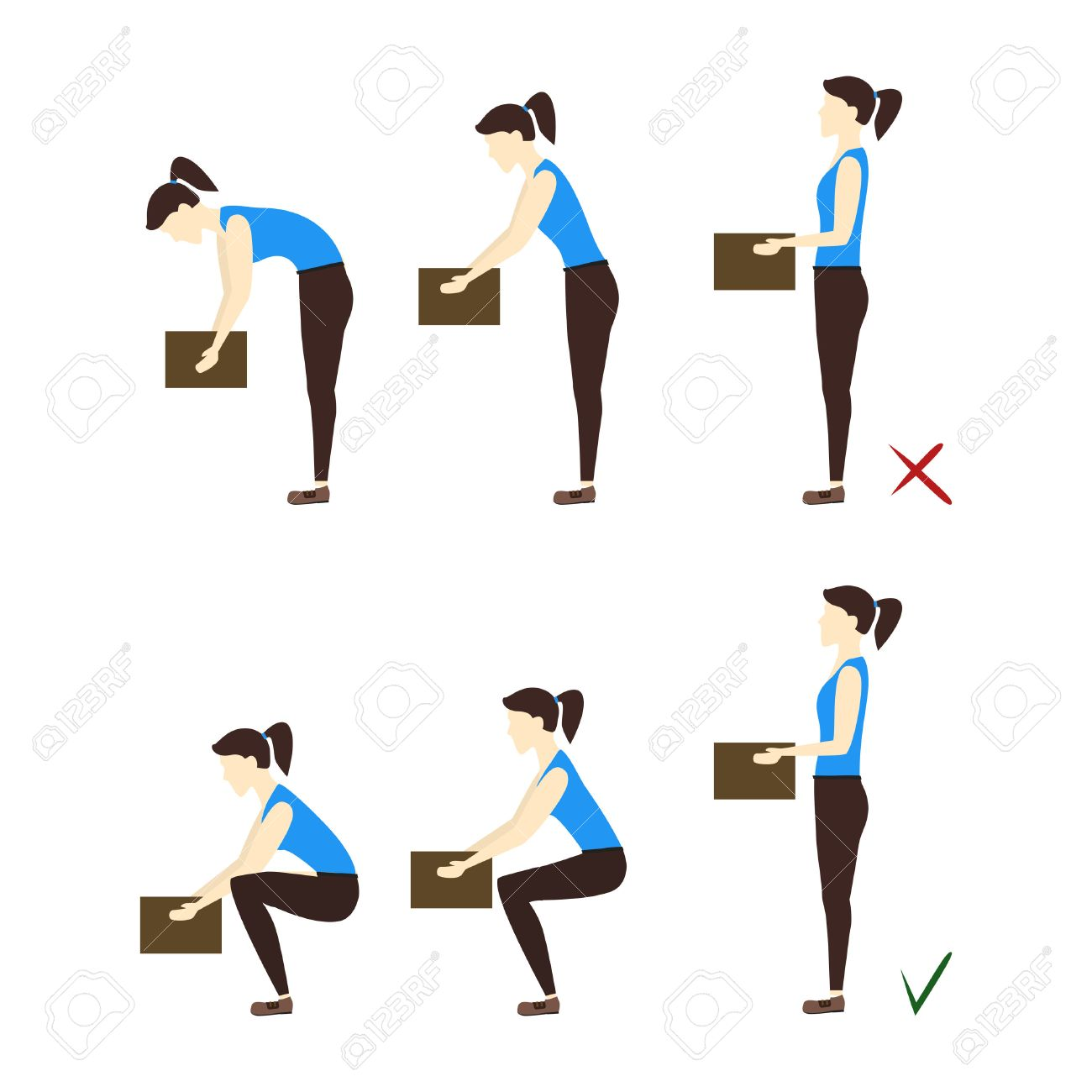 Lifting Box Correct and Incorrect Position. Poster with the Instruction. Flat Design Style. - 64571893