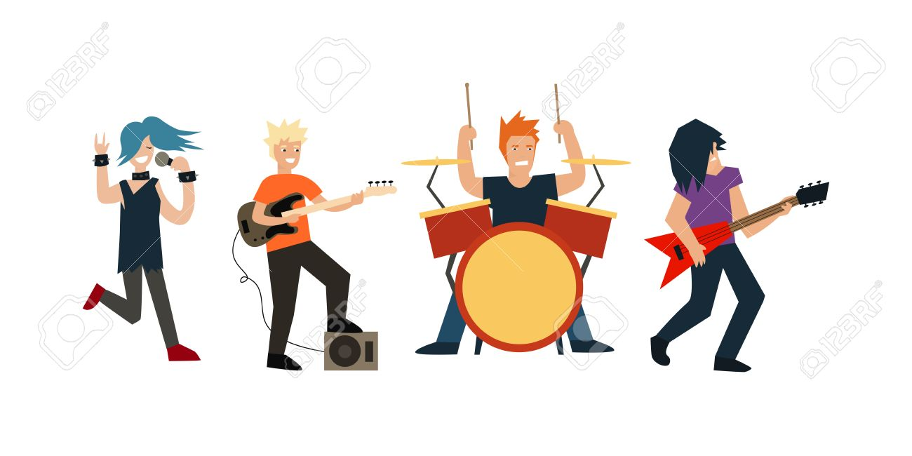 cartoon rock band musicians and singer flat design style vector