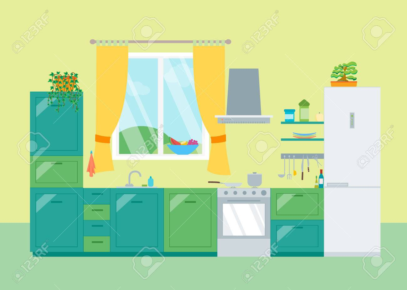 Cartoon kitchen with cabinets and window vector art illustration - Interior Classic Kitchen With Furniture And Window Flat Design Style Vector Illustration Stock Vector