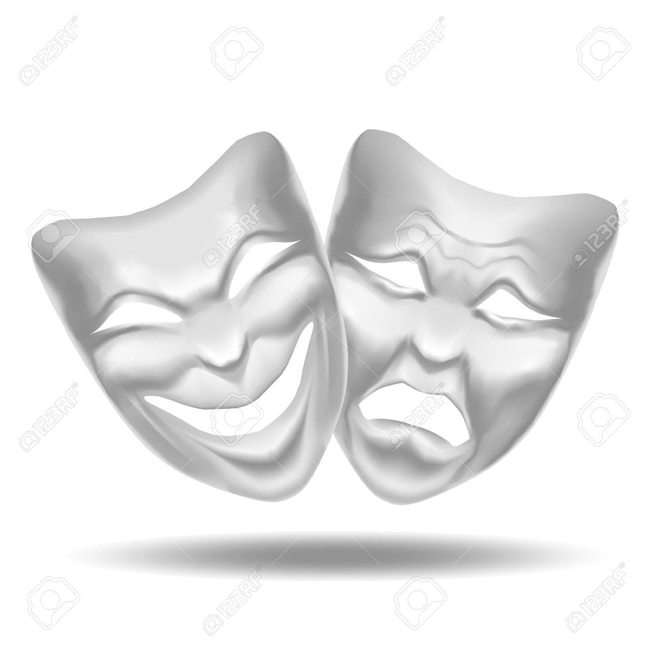 Template Blank White Comedy And Tragedy Mask Theatre. Realistic ...
