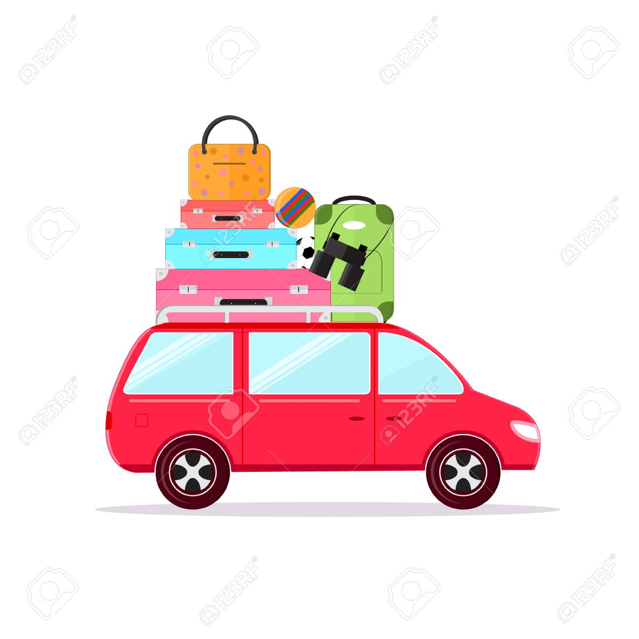 Travel Car Concept Tourism And Vacation Together Flat Design Style Vector Illustration Stock