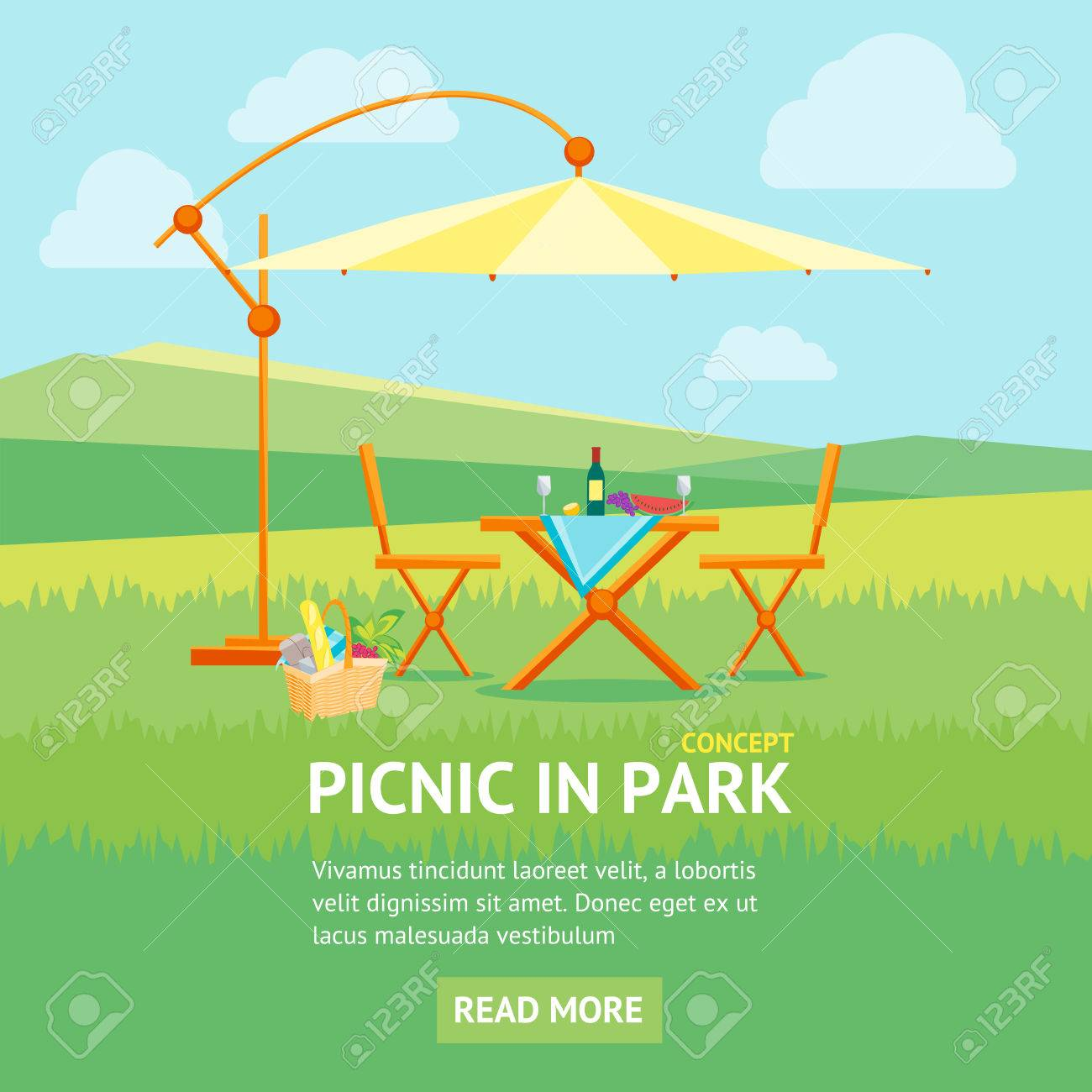 Summer Picnic In Park Banner Flat Design Style. Table, Chairs And Umbrella.  Outdoor