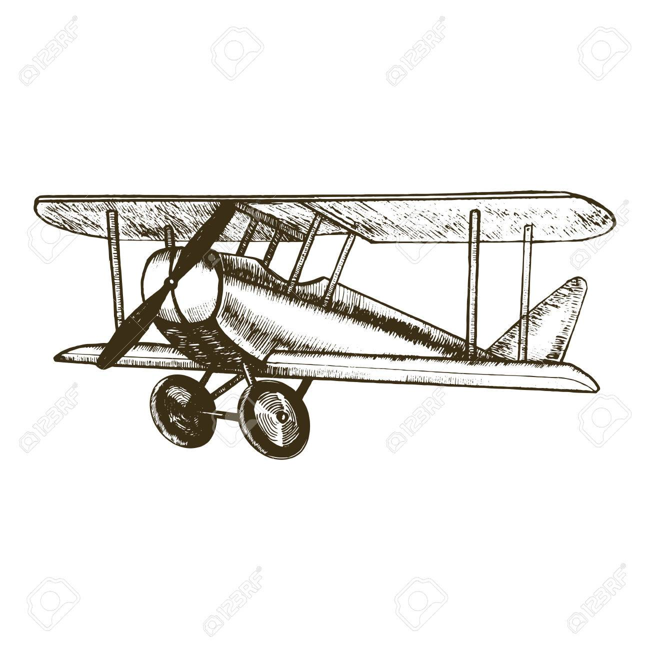 Retro Plane Hand Draw Sketch Vintage Biplane With Propeller Can
