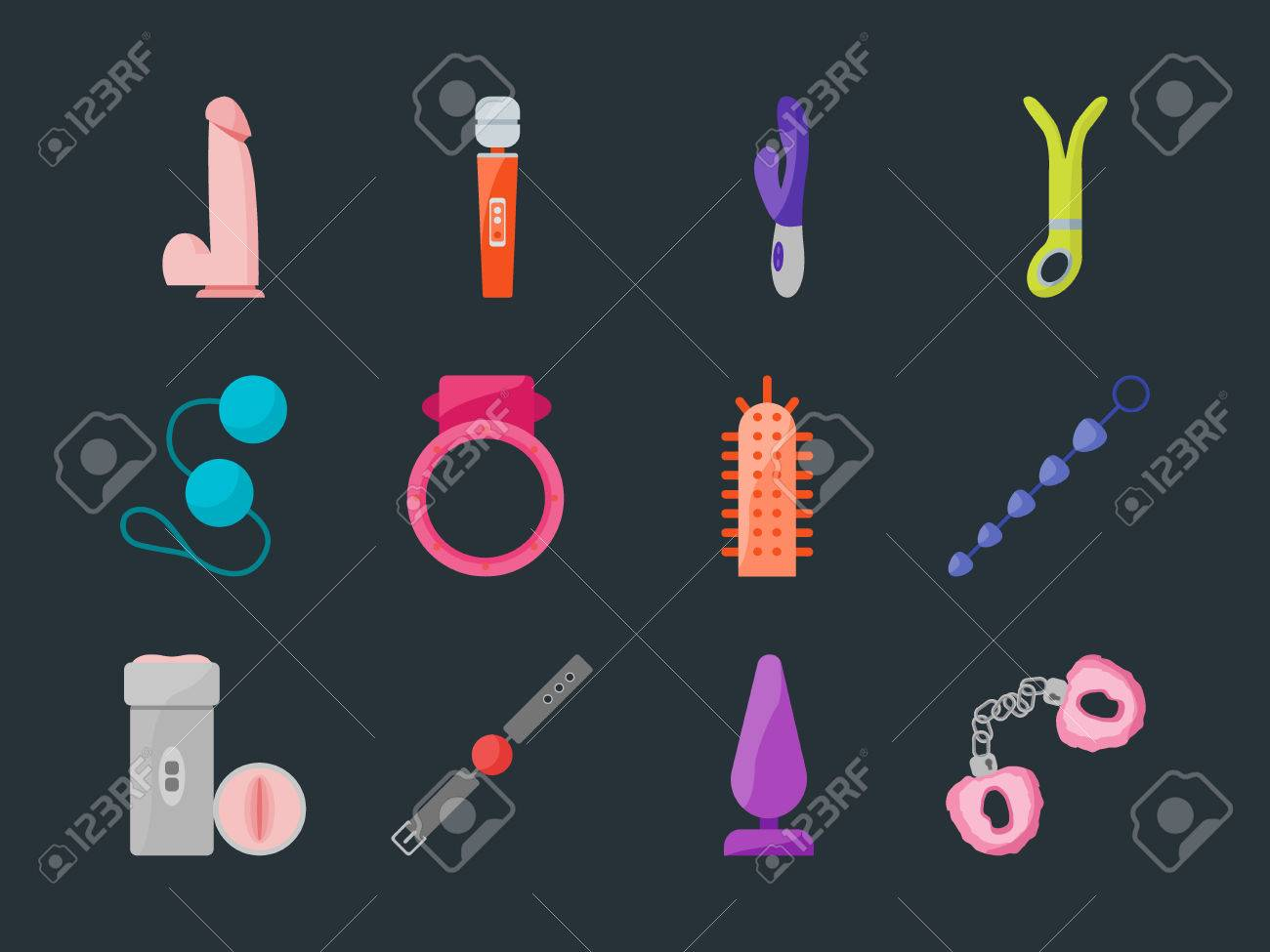 cartoon sex toys set for intim shop flat design style. bdsm elements