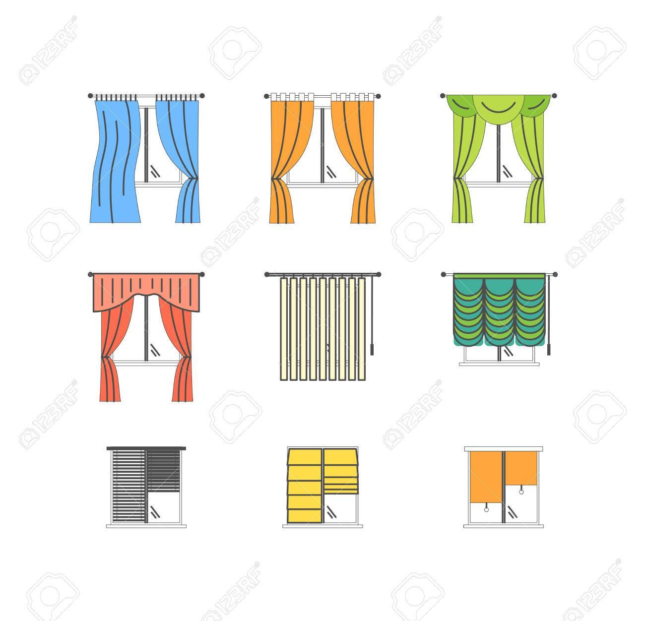 Bunte Vorhange Typen Dunn Linie Set Pixel Perfekte Kunst Material