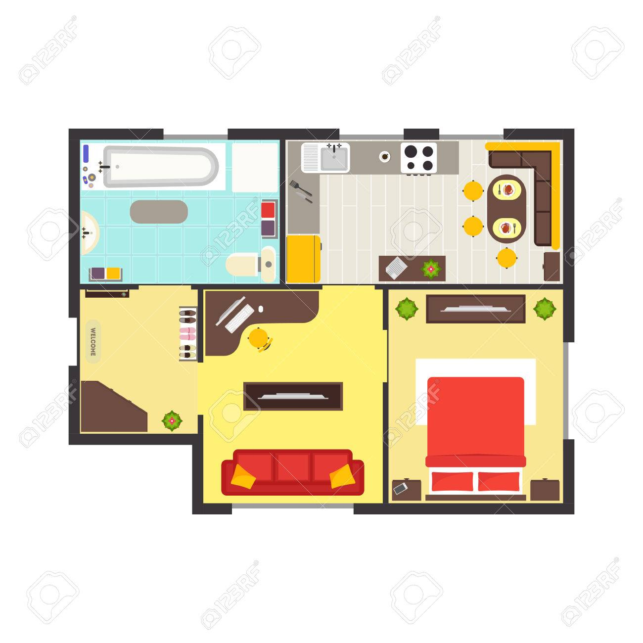 apartment floor plan with furniture top view colorful floorplan rh 123rf com